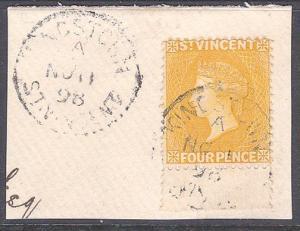 ST VINCENT 1898 QV 4d SG56 fine used on piece - Kingstown cds..............857