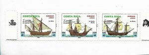COSTA RICA 1992 500 ANNIVERSARY DISCOVERY OF AMERICA SHIPS COLOMBUS STRIP MNH