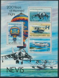 78432 - NEVIS  stamps - 1983  AVIATION Balloon  S/S -  MNH Overprinted SPECIMEN
