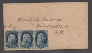 **US 19th Century Cover Scott #7 XF Strip of 3 - RARE COVER (See PSAG Cert)
