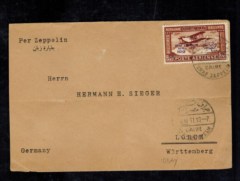 1931 Cairo Egypt # C3 Graf Zeppelin LZ 127 Airmail Cover to Lorch Germany