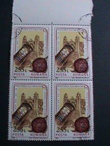 ROMANIA STAMP-1993 SC#3872 CITY OF SLATINA 625 ANNIVERSARY CTO BLOCK OF 4 VF