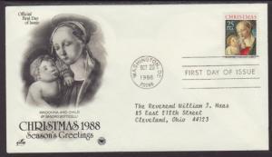 US Christmas Madonna 1988 PCS Typed FDC BIN