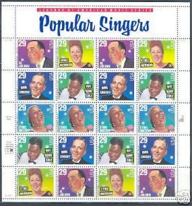 UNITED STATES 29C POPULAR SINGERS SHEET STAMPS MINT