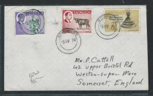 LESOTHO (1012B) 1C COW+1/2C+2 1/2C BOINYATSO 1974 TO ENGLAND