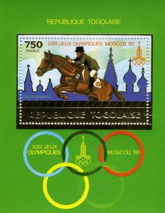 Togo 1980 Moscow Olympic ESQUESTRIAN Gold Foil s/s Perforated Mint (NH)