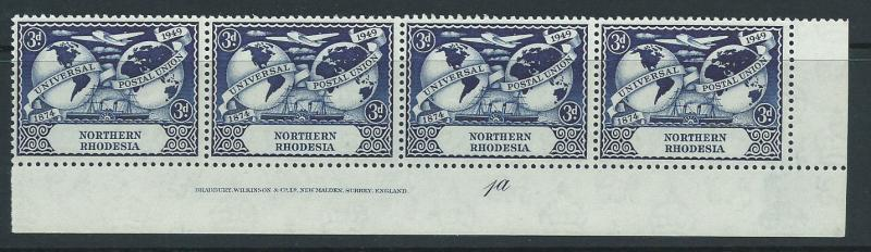 Northern Rhodesia  SG 51 MUH  Corner Bottom strip x4 Plat...