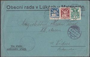 CZECHOSLOVAKIA 1921 cover ex MALENOVIC  - nice franking....................53836