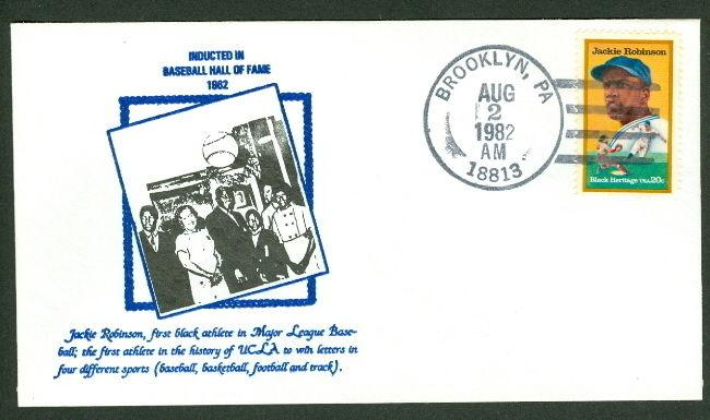 JACKIE ROBINSON FDC - HALL OF FAME INDUCTION W/FAMILY PHOTO CACHET  KONNICK CACH
