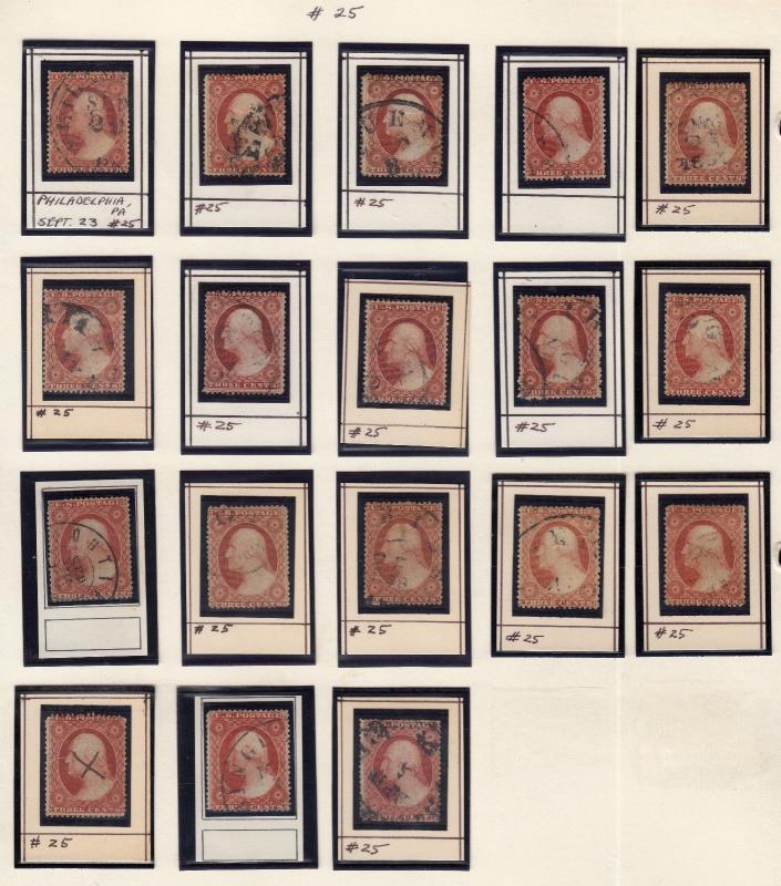 #25 (18) DIFFERENT USED MOUNTED ON A PAGE CV $2,250.00 HV6881