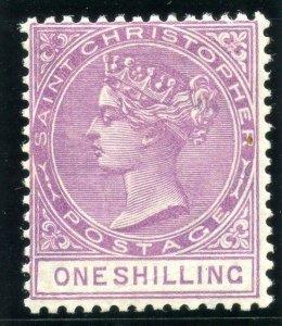 St Christopher 1886 QV 1s mauve MLH. SG 20. Sc 16.