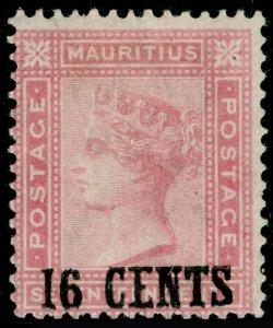 MAURITIUS SG113, 16c on 17c Rose, LH MINT. Cat £180.