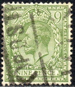 1922 Sg 393a N30/1 9d plive-green Royal Cypher Fine Used