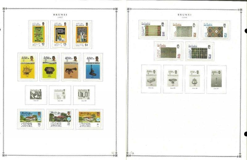 Brunei 1906-1992 MNH, LH & U in Mounts on Scott International Pages