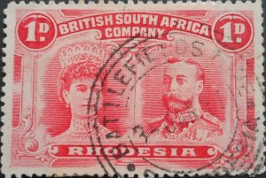 Rhodesia Double Head One Penny with BATTLEFIELDS MINE 3 broken (TC) postmark