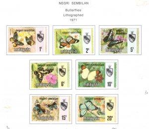 Malaysia -  Negri Sembilan Scott 85-91 MH* Butterfly set 1971