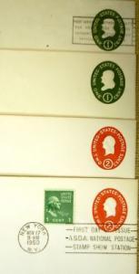 1c 2c 3c USA Imprinted stamp Envelopes 8qty