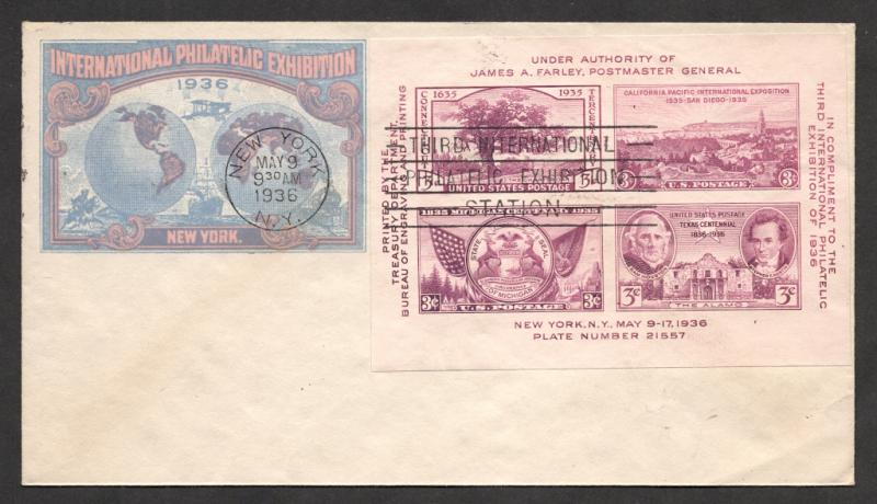 U.S. #778 On FDC w/Label Imp.on Env. -1936 TIPEX Cancel + Mint Sheet Bonus
