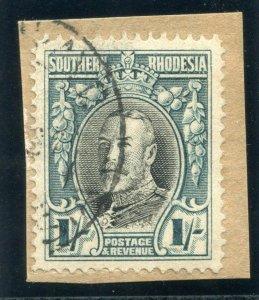 Southern Rhodesia 1937 KGV 1s black & greenish blue (p14) VFU. SG 23b. Sc 26b.