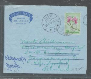 MALAYA SINGAPORE (PP2508B) 1965 30C ORCHID AEROGRAMME TO DENMARK, FORWARDED