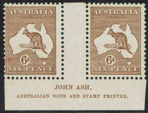 AUSTRALIA 1929 KANGAROO 6D MNH ** IMPRINT GUTTER PAIR SMALL MULTI WMK