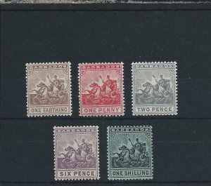 BARBADOS 1909-10 SET OF FIVE MM SG 163/169 CAT £90