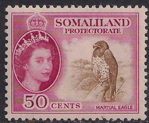 Somaliland 1953 - 58 QE2 50 ct Brown & Carmine MM SG 143 ( R1026 )