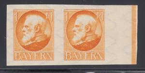 Bavaria Mi 104P MNH. 1914 1m King Ludwig II, orange TCP pair, PF Cert
