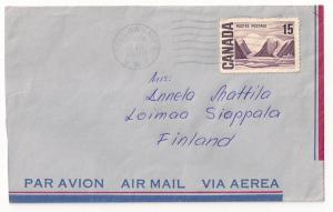 CANADA: 15c #463 airmail from YELLOWKNIFE NWT to Finland