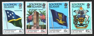 Solomon Islands. 1978. 357-60. Independence, coat of arms and flag of Solomon...