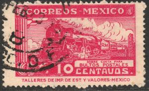 MEXICO Q1, 10cents PARCEL POST. STEAM ENGINE. USED. F-VF (1466)