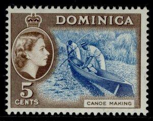 DOMINICA QEII SG147, 5c light blue & sepia-brown, NH MINT. Cat £16.