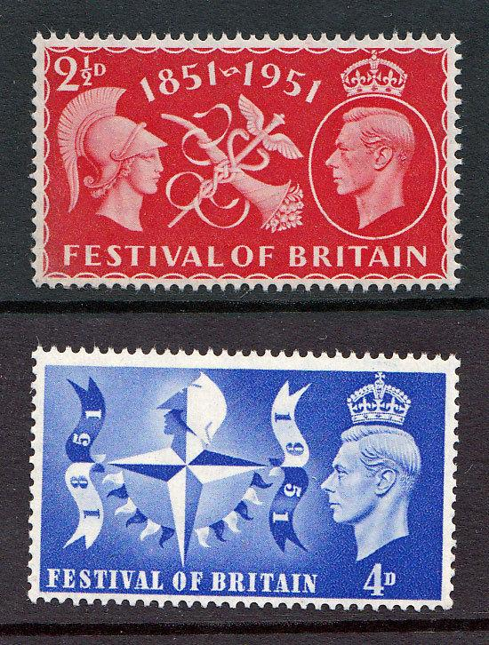 KGVI GB Festival Of Britain 1951 SG513 & SG514 Unmounted Mint MNH UMM Free P&P