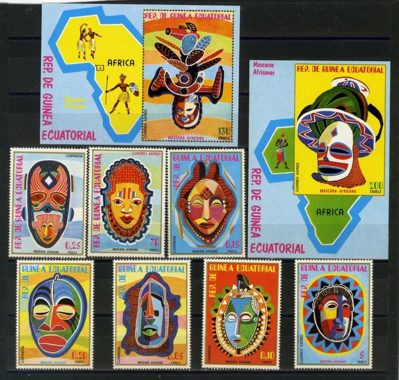 EQUATORIAL GUINEA MASKS SET OF 7 STAMPS & 2 S/S PERF.& IMPERF. MNH