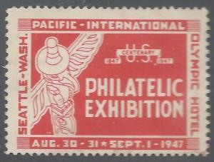 U.S., 1947 Pacific International Philatelic Exposition, Seattle, Poster Stamp