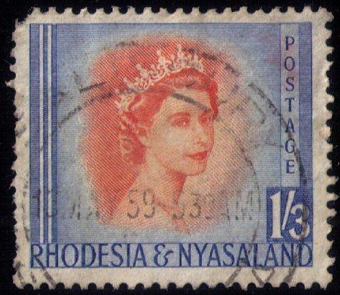 Rhodesia & Nyasaland 1954 QEII 1.3 Shilling USED  F-VF