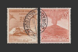 COLOMBIA AIRMAIL STAMP 1954. SCOTT # C243 - 44. USED