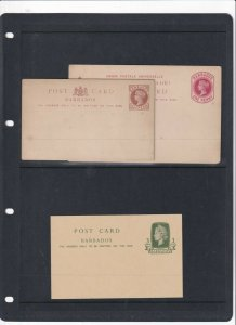 BARBADOS 3X POSTAL STATIONARY CARDS UNUSED 2 VICTORIA, 1 QE2ND