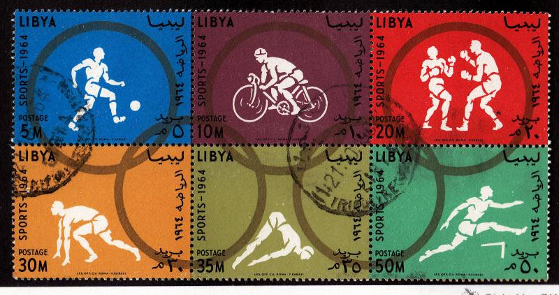 LIBYA Used Scott # 258-263 (263a) Sports block of 6 - remnants (6 Stamps)