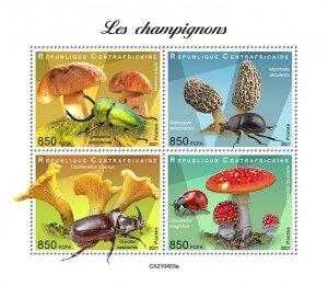 C A R - 2021 - Mushrooms - Perf 4v Sheet - Mint Never Hinged