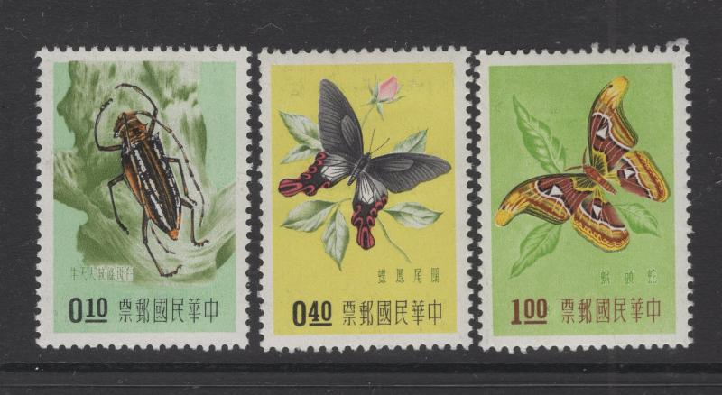 Republic of China 1958 Insects in Natural Colors Short Set Scott 1183-5 MH