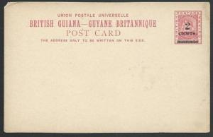 BR GUIANA 2 Cents on 3c ship type postcard unused..........................49762