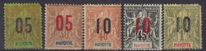 Mayotte #25, 27-9, 32  Unused  CV $11.50  (Z6948)