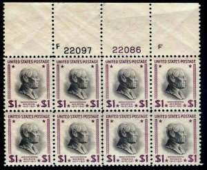 PLATE BLOCK of 8 - #832 $1 PREXY.....VF+ og NH   -- FREE SHIPPING