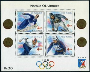 Norway 997 sheet,MNH.Michel Bl.16. Olympics Lillehammer-1994.Gold Medalists.