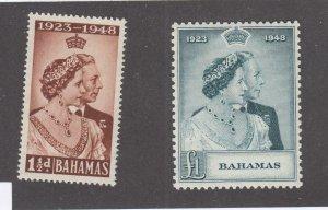 BAHAMAS # 148-149 VF-MNH 1948  KING GEORGE VI SILVER WEDDING CAT VALUE $45
