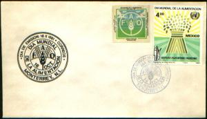 MEXICO 1254, CACHETED FDC. World Food Day WITH ADDL. STICKER. F-VF.