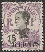 Indo-China #70 Annamite Girl Surcharged Used