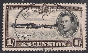 Ascension Island 1938 - 53 KGV1 1/-d Black & Sepia used SG 44 ( A924 )