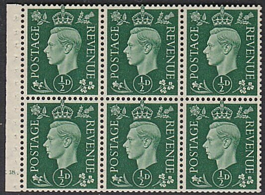 GB 1937 ½d booklet pane cyl E18 mint/MNH....................................P975